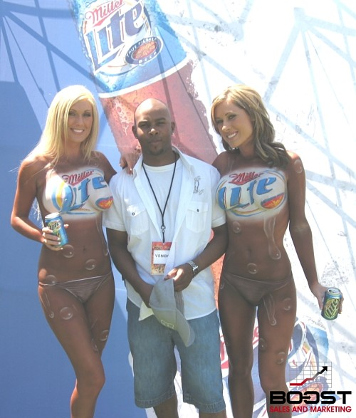Sexy Miller lite topless painted models with Paul Gage