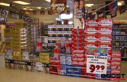 Marketing beer by having a display full of POS
