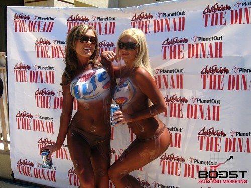Body Paint Topless Miller Lite Girls -How to become a body painted model - topless body paint models wearing miller lite logo body paint - nipples painted