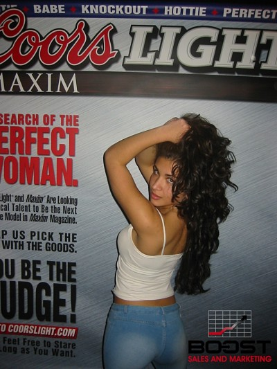 Sexy Coors Light Maxim Girl Search she had black fishnet stockings showing her white ass looking sexy as hell - coorslight hottie
