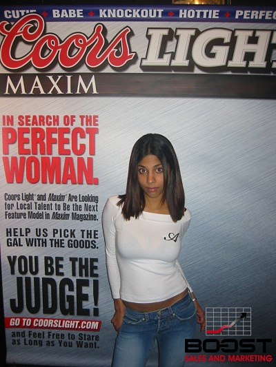 Look at the look on this girls.  She really want to become a coorslight maxim model and I think she has the talent to become the next Sexy Coors Light Maxim Girl Search
