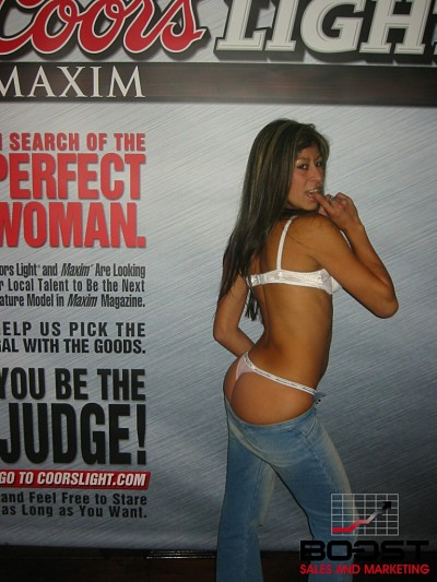 She is a hot lating Sexy CoorsLight Maxim Girl Search model that wants to become a promotional model for boost sales and marketing