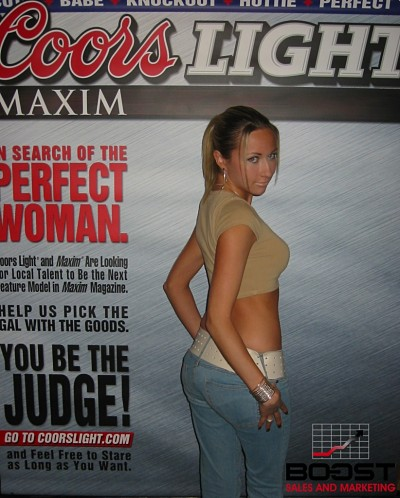 Sexy Latina Girl posing for Coors Light Maxim Girl Search in New York - she had a wonderful plump ass and could have modeled for any promotional company