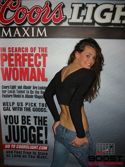 Sexy Coors Light Maxim Girl Search in New York - Brunette girl showing her ass