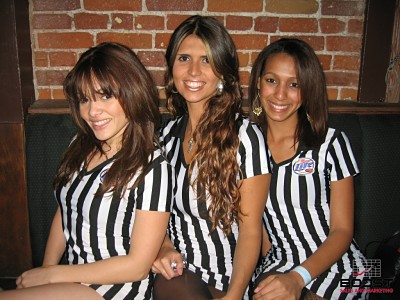 Sexy Miller lite promotional models wearing referee uniforms