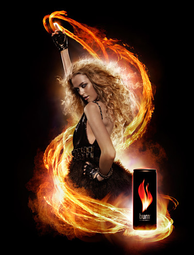 Burn Energy Drink Poster Model