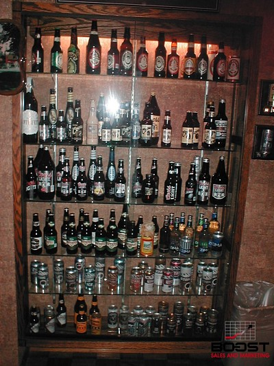 coors brewery and a large display of all the old coors bottles