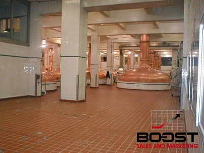 Coors copper brewing kettles at the Coors brewery