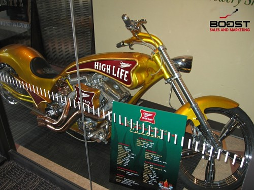 Miller high life motor bike at the miller brewery in Milwaukee