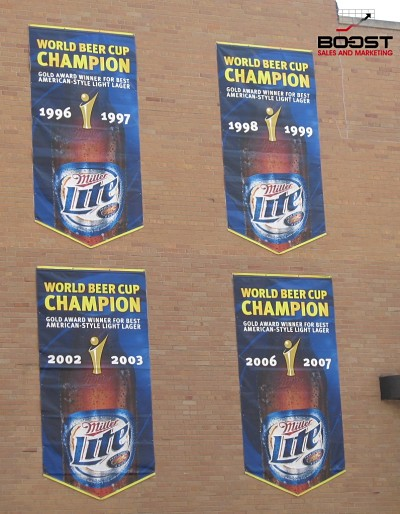 The Miller lite beer cup awards on the building
