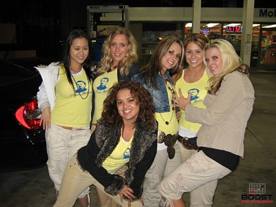 Sexy Miller Girls at gas station promoting miller lite beer