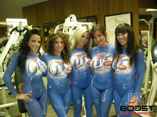 Group of Sexy Miller lite topless painted models
