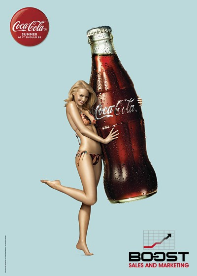 Coca Cola Beverage Model on a Poster