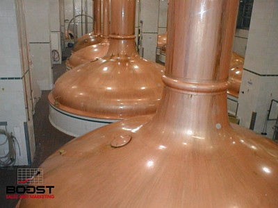 Coors copper brewing kettles in golden Colorado