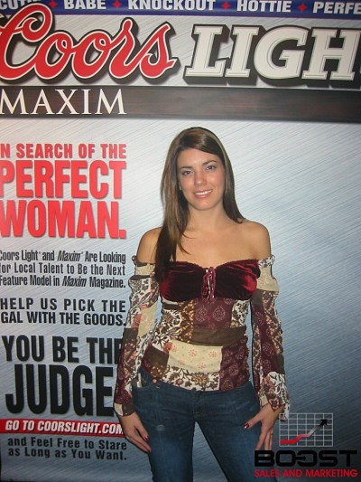 What would happen if her top fell down?  She has a nice look and is really Sexy Coors Light Beer Model for Maxim Girl Search
