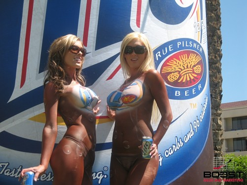 Miller Lite topless body painted sexy promo girls at dina shores