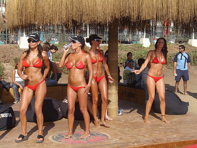 Bacardi Girls are Sexy and Fun - become a bacardi promotional model -sexy liquor girls having fun on the beach wearing sexy bikinis