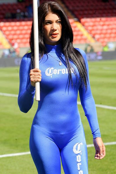 Corona beer girls promoting corona beer at a soccer game in mexico- camel toe with a tight outfit