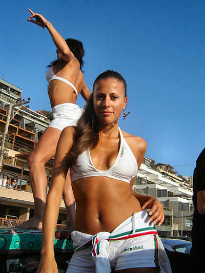 Heineken Girls like to promote Heineken Beer doing promotional work